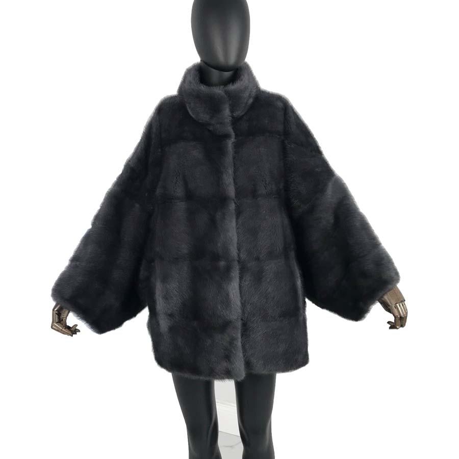 Real Mink Fur Women Medium Long Coat Female Detachable Sleeves Stand Coollar Mandarin Collar Good Quality Real Mink Fur Jacket