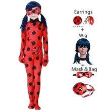 Ladybug Costume Earrings Tights Fancy Dress Superhero Cosplay Skirt Girl Children World-Reading-Day