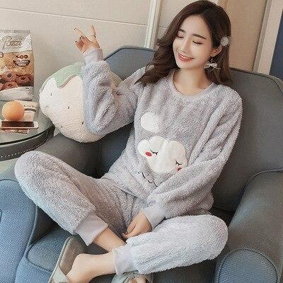Winter Pajamas Home-Service-Suit Velvet Coral-Fleece Ladies Flannel Long-Sleeved Plus