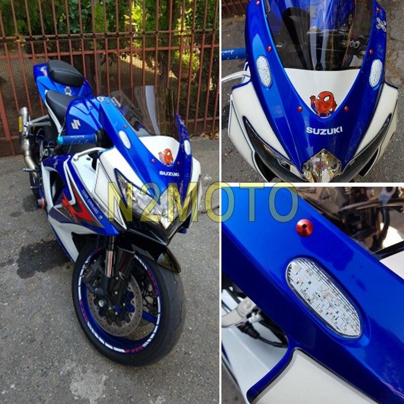 Motorcycle Front LED Amber Turn Signal Light Flush Mount Indicator Flasher For Suzuki GSXR GSX-R 600 750 1000 2006-2016