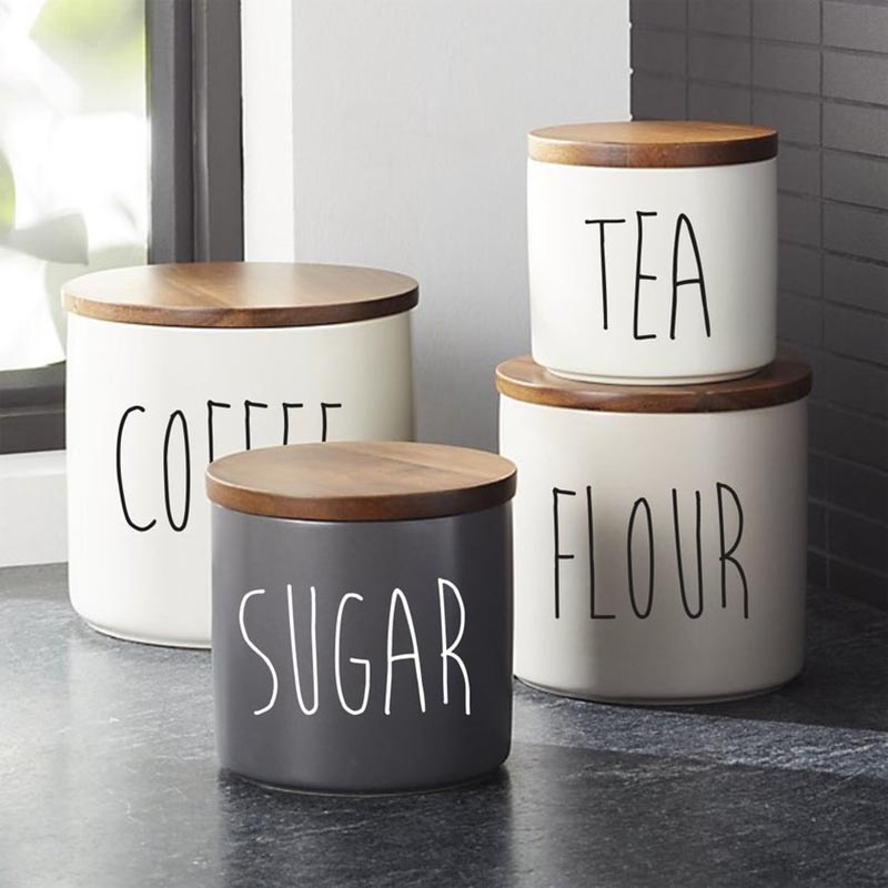 Rae Dunn Canister Decals, Kitchen L , Canister Vinyl Decals, 8Pcs Kitchen Canister Decals Stickers, Flour Sugar Decals Sticker