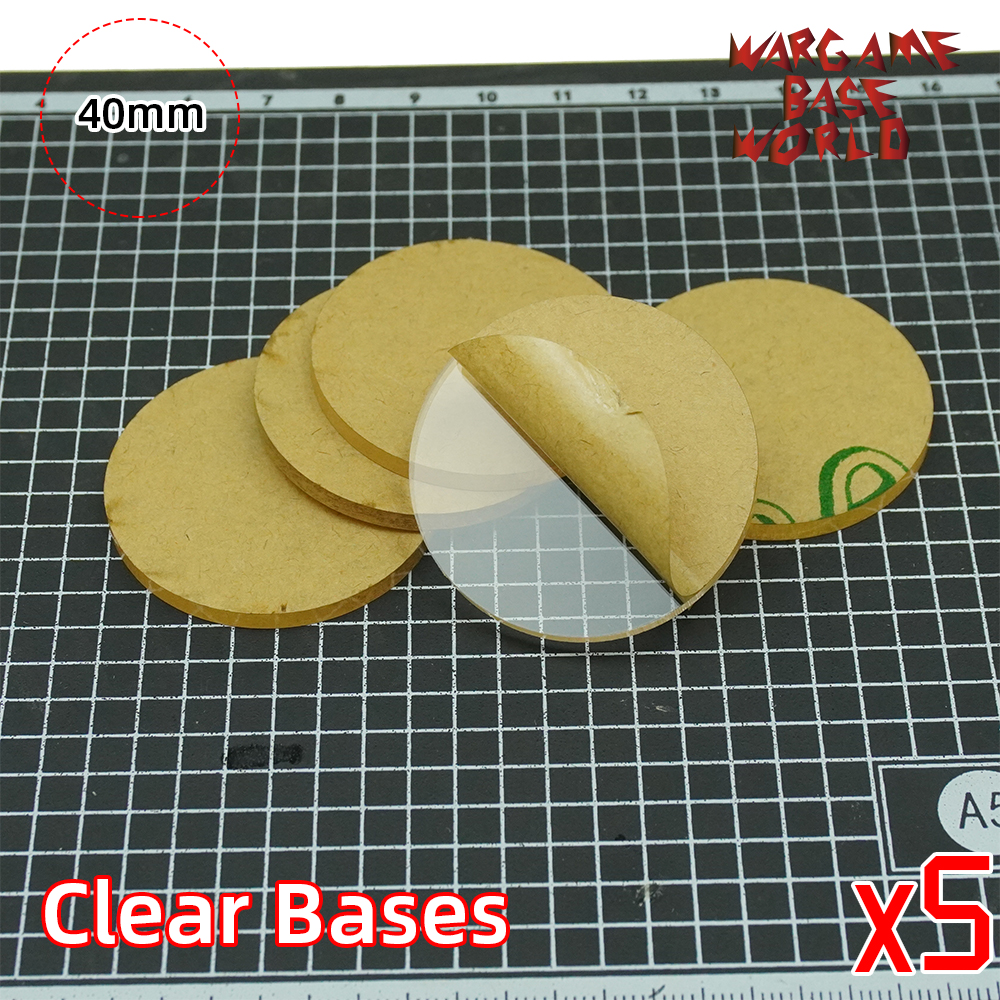 TRANSPARENT / CLEAR BASES For Miniatures - 40mm Round Clear Bases