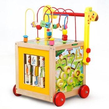 早期教育乳幼児木製歩行器ベビー知恵ラウンドボールカート抗ロールオーバーマルチ機能玩具