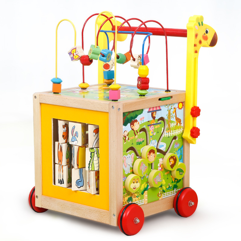 Early Education For Infants And Young Children Wooden Walker Baby Wisdom Round The Ball Cart Anti-rollover Multi-functional Toys