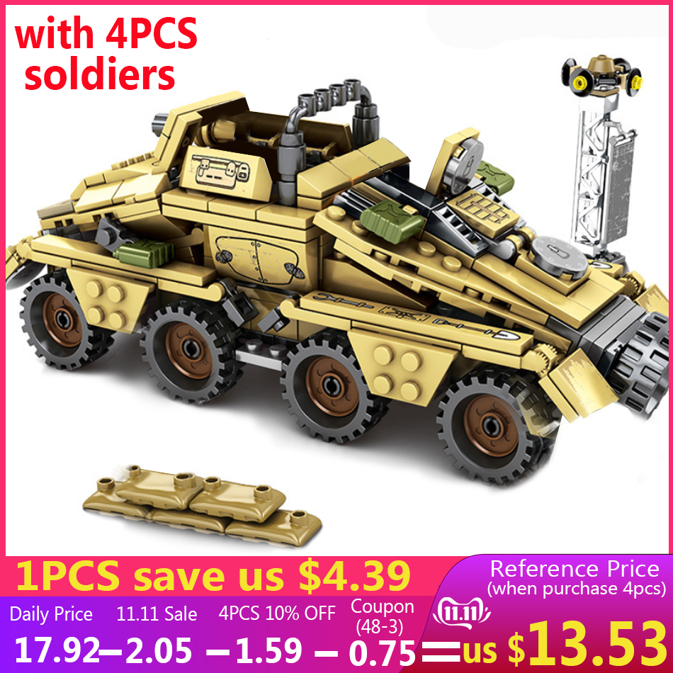395PCS Classic Military German Armored Vehicle Truck Model Building Blocks Compatible Legoed WW2 Army Soldier Figures Kids Toys