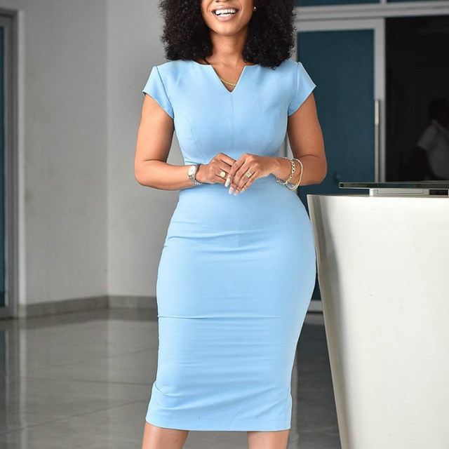 Blue Bodycon Dress Office Ladies Elegant Short Sleeve Knee Length Slim Classy Modest Work Wear Elastic Plus Size Female African