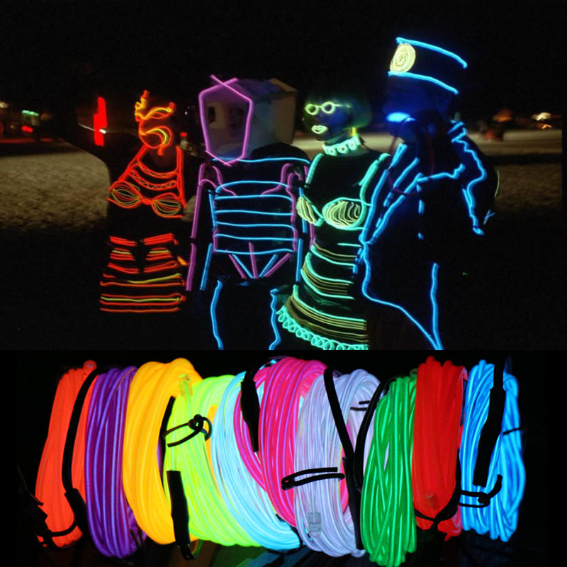 10M EL Led Flexible Soft Tube Wire Neon Glow Car Rope LED Strip Light Xmas Christmas Decoration for Home AC 12V image