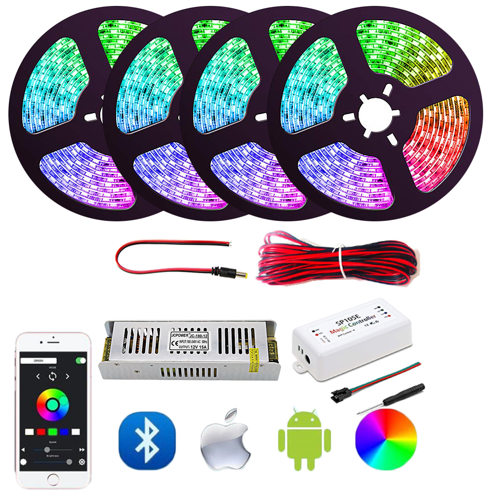 Dream Color LED Strip Lights With APP, WS2811 RGB Rope Lights Kit, Sp105e Bluetooth Control Flexible Strip Lighting For Home Set