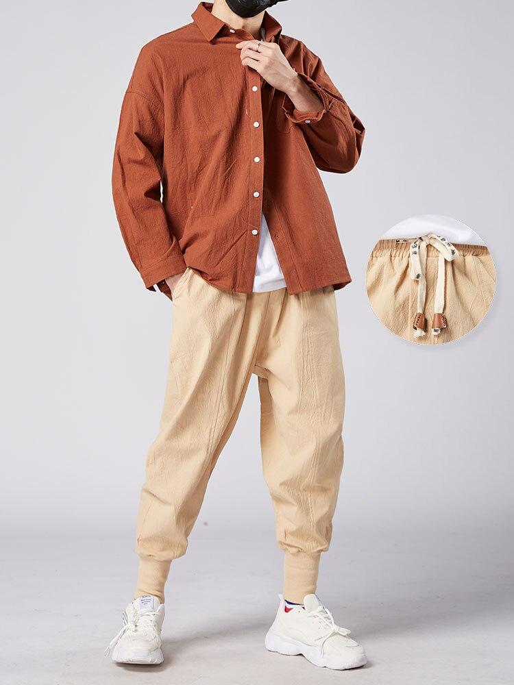 Trouser Jogger-Pants Store Linen Japanese Men Cotton Casual Man Mrgoldenbowl