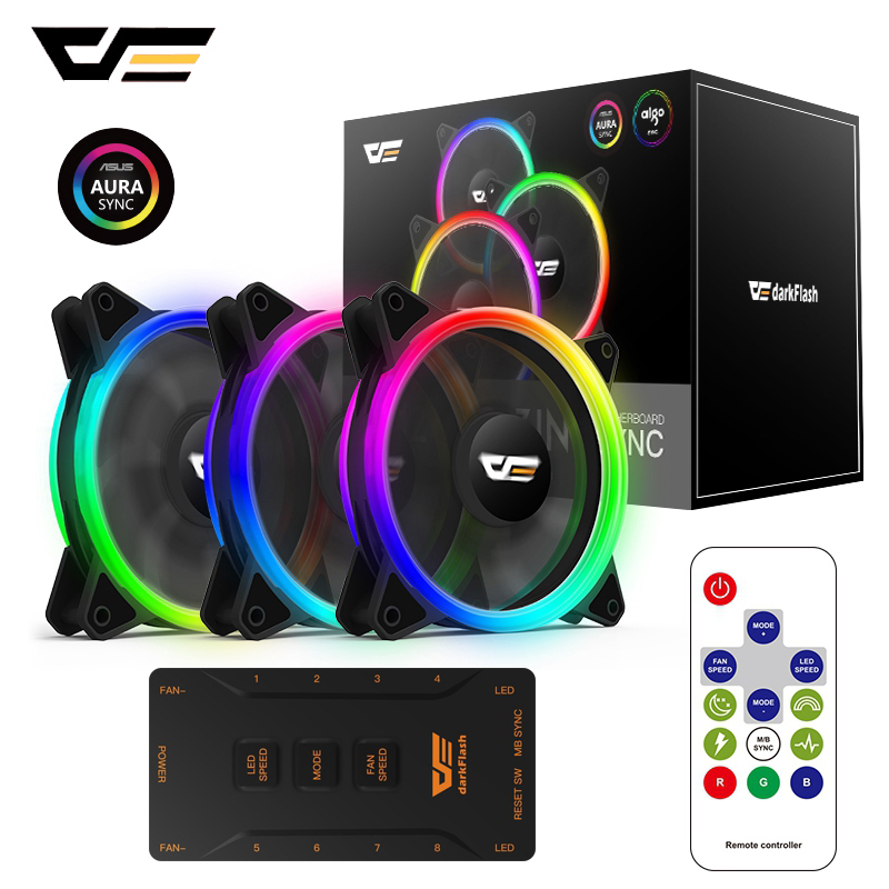 DarkFlash Aurora DR12 Pro 3-Pack PC Fan Computer 120mm RGB LED Case Fan Kit ASUS Aura Sync Support Speed Adjust Colorful Fans
