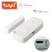 Czujnik drzwi Tuya z portem ładowania baterii bezprzewodowy czujnik magnetyczny do okna przełącznik magnetyczny otwarty alarm inteligentne życie AlexaGoogle