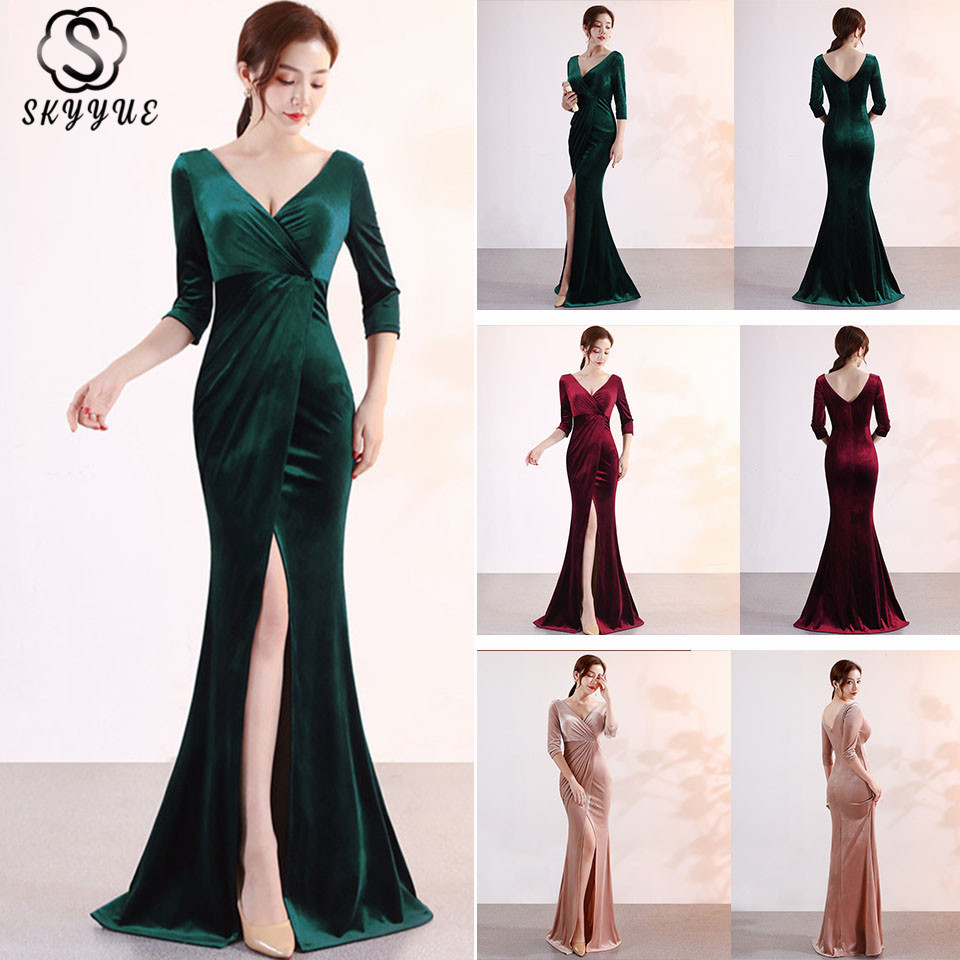 Skyyue Evening Dress Split Women Party Dresses V neck Robe De Soiree 2019 Three Quarter Sleeve Formal Evening Gowns C113 DS3 in Evening Dresses from Weddings Events