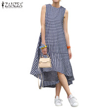 2020 Spring Summer Sundress ZANZEA Women Sleeveless Plaid Checked Dress Casual Mid Calf Dresses Vestidos Beach Party Dresses 5XL(China)