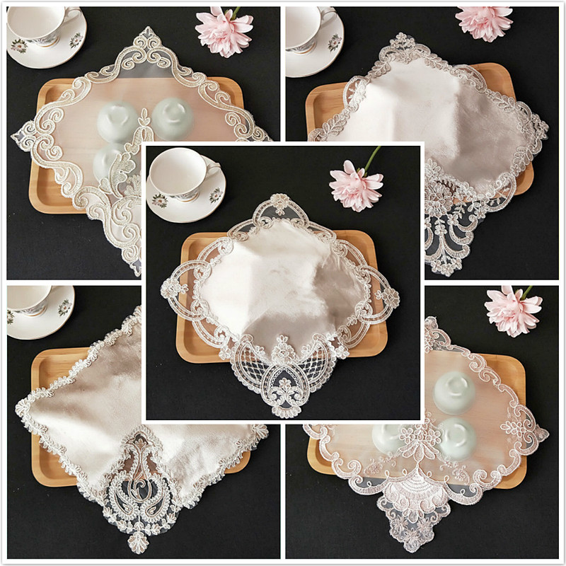 Promotional European Mesh Gold Velvet Stitching Napkin Placemat Pad Cushion Vase Lamp Mat Small Jewelry Cover Fabric Tablecloth