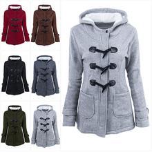Abrigo Chaqueta de algodón para mujer 2019 nuevo abrigo de algodón otoño invierno abrigo de cuerno hebilla abrigo femenino con capucha invierno Parka de talla grande
