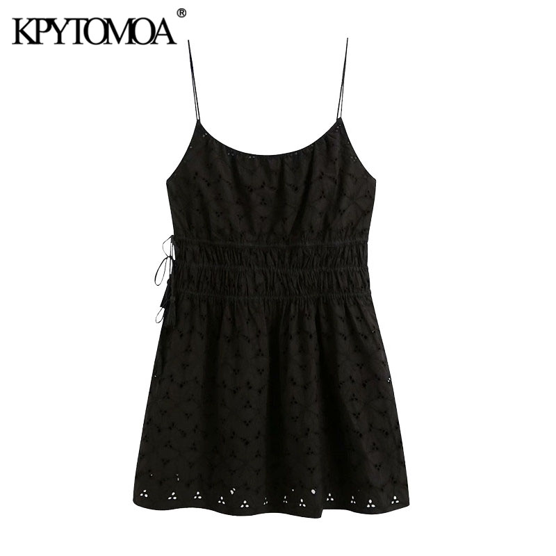 KPYTOMOA Women 2020 Chic Fashion Cutwork Embroidery Mini Dress Vintage Drawstring Tied Tassel Thin Straps Female Dresses Mujer