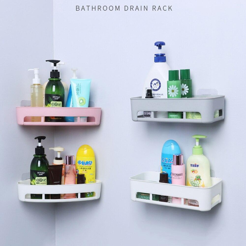 1PCS Bathroom Plastic Shelf Organizer Basket Holder Non-trace Stick Storage Holder Triangle Rectangle