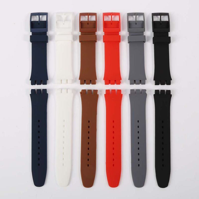 17mm,19mm,20mm Watch Band Strap Pin Buckled 6 Colors Adjustable Silicone Wristband Wristwatch Bands Replacement Accessories