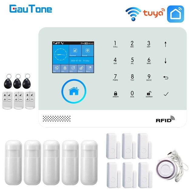 GauTone NEW PG103 tuya WiFi Alarm System Security Home with RFID Card Motion Sensors Smart Life app Control