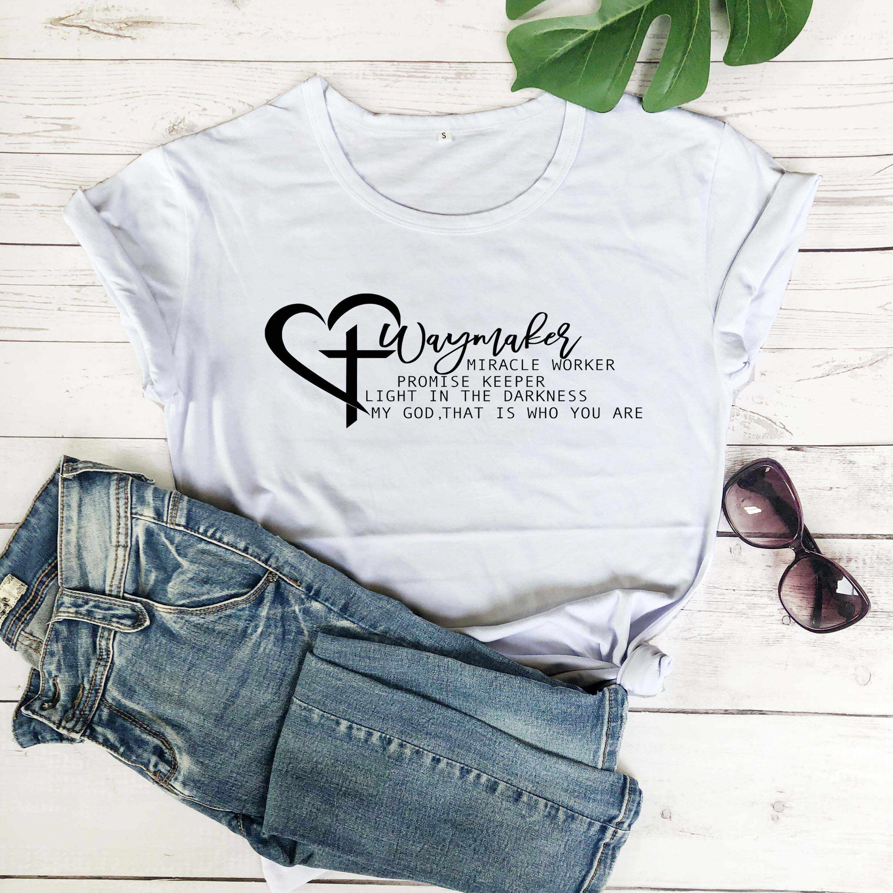 Waymaker Miracle Worker Promise Keeper My God Christian Svg Religion Women T Shirt Heart Aesthetic Cross Christian Gift Top M408 Aliexpress