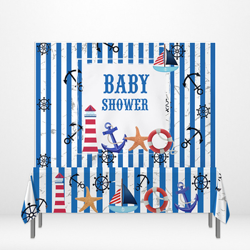 Allenjoy Blue Stripes Tablecloths Baby Shower Summer Navy Style Lighthouse Anchors Photozone Banner Birthday Party Star Supplies