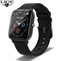 LIGE Health Fitness Smart Watch Men Electronic Blood Pressure Measurement Heart Rate Monitor Smartwatch Full Touch Color Screen