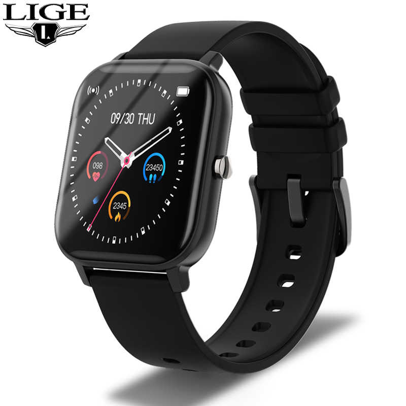 LIGE الصحة اللياقة البدنية ساعة ذكية الرجال إلكتروني قياس ضغط الدم مراقب معدل ضربات القلب Smartwatch كامل شاشة ملونة تعمل باللمس