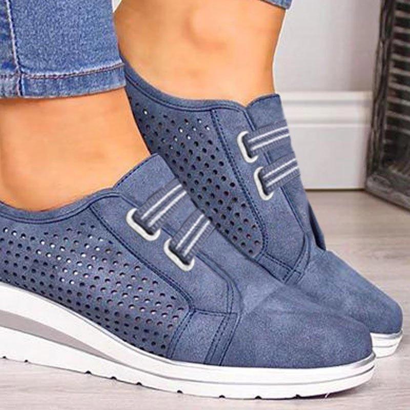 Oeak 2019 Flock New High Heel Lady Casual Women Sneakers Leisure Platform Shoes Breathable Height Increasing Shoes Women Flats 3