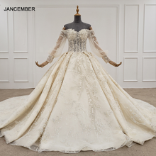 HTL1246 2020 boho wedding dress off the shoulder sequin beading flower lace up back long sleeve wedding dress robe de mariee new
