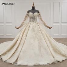 HTL1246 2020 boho שמלות כלה כבוי כתף נצנצים ואגלי פרח תחרה עד חזרה ארוך שרוול חתונה שמלת חלוק דה mariee חדש
