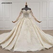 HTL1246 2020 свадебное платье в стиле бохо с открытыми плечами, Блестками, Бисером, цветами, на шнуровке сзади, с длинным рукавом, свадебное платье, robe de mariee, Новинка