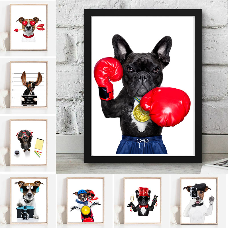 Nordic Style Funny Cartoon Animal Canvas Painting Poster And Print Clownish Boxing Dog Wall Pictures For Kids Living Room Decor image