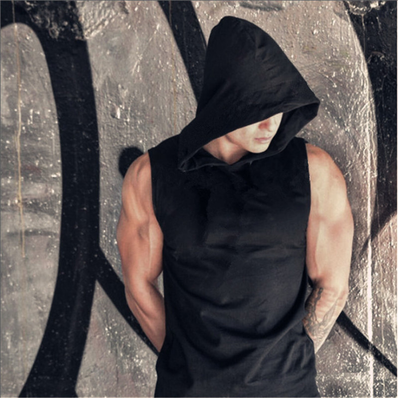 Men Fitness Hoodies Tank Tops Sleeveless Bodybuilding Tee Shirt Fashion Stringer Male Workout Hooded Vest Sportswear