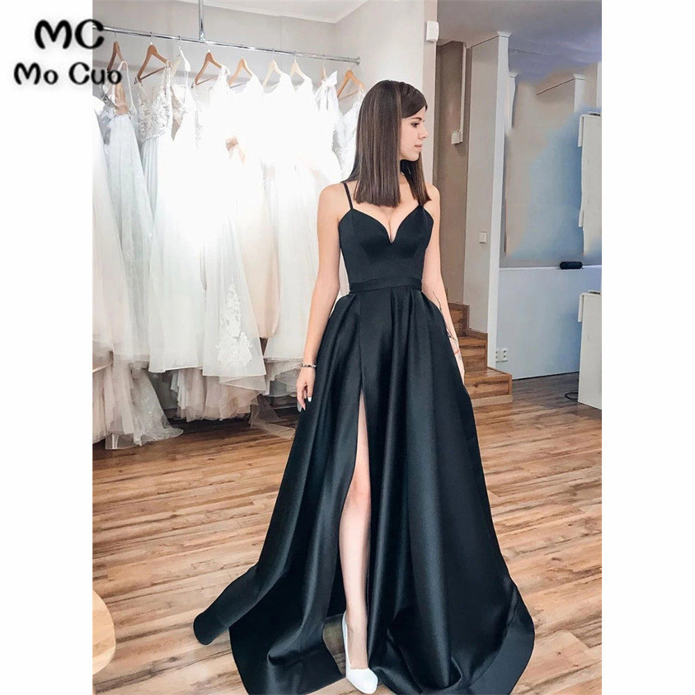 Black Long Prom Dresses In Stock Dress For Graduation Spaghetti Straps Front Slit Hard Satin Evening Dresses Prom Gown For Women