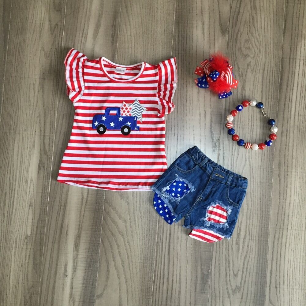 Baby Girls Summer  Truck Clothes Kids July 4th Outfits Jeans Shorts Red Stripe Top Girls Boutique Outfits With Accessories