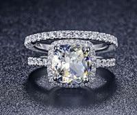 TRS008 Luxury Quality NSCD Synthetic Gem 3 Carat Cushion Cut Engagement Wedding Ring Set For Women,Bridal Set