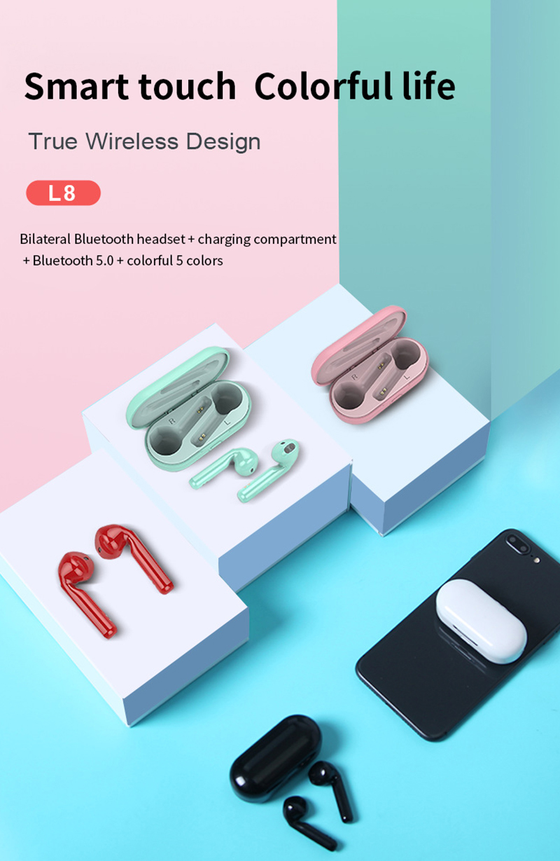 L8 Wireless Bluetooth Earphones Binaural Calling Headphone 5D Stereo Headset wireless headphones Driving listening song image