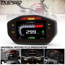 Universal Motorcycle Lcd Tft Digitale Snelheidsmeter 14000 Rpm 6 Gear Backlight Motorcycle Kilometerstand For1, 2,4 Cilinders Meter
