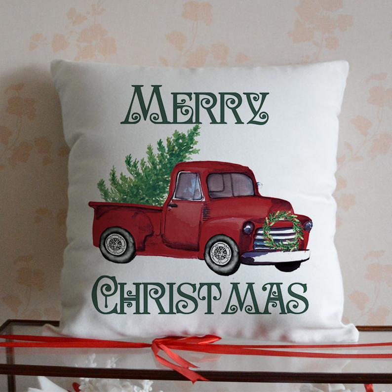 >Merrys Christmas <font><b>Pillow</b></font> Cover Farm Tree-Red Truck Christmas <font><b>Pillow</b></font> Cover <font><b>Farmhouse</b></font> Decor <font><b>Pillow</b></font> Case Xmas <font><b>Gifts</b></font>