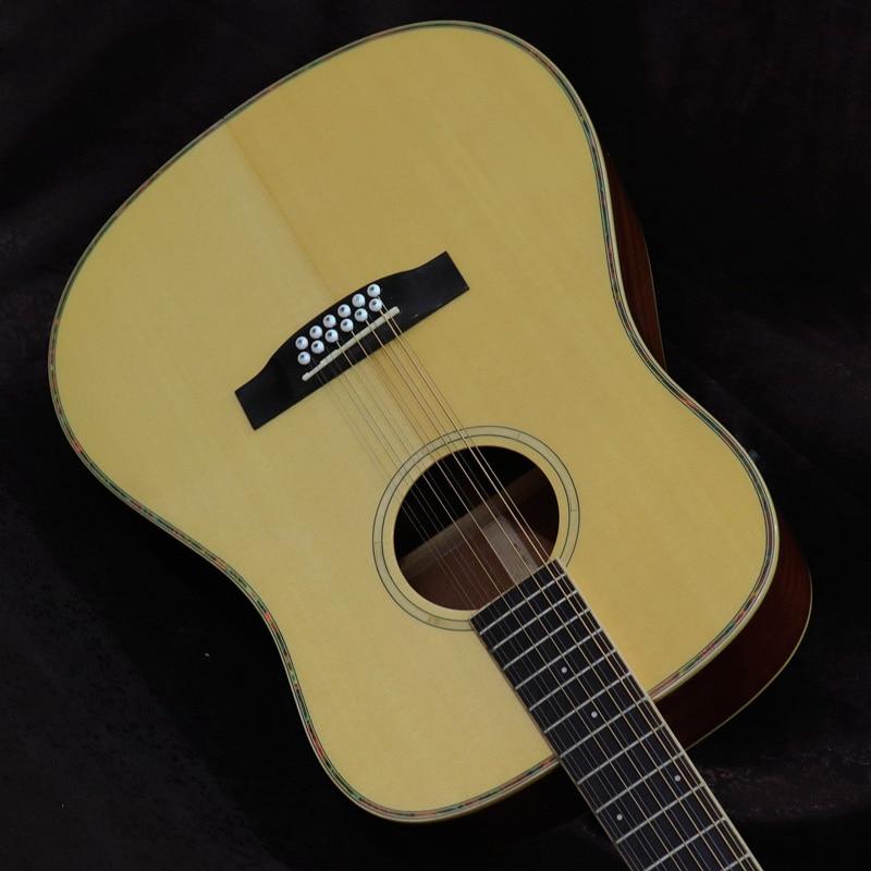Guitare acoustique de guitare folk pleine grandeur de 41 pouces avec EQ guitare électrique acoustique de couleur naturelle du dessus 12 en bois solide d'épicéa