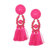 2019 Drop Shipping Tassel Earrings For Women Ethnic Big Drop Earrings Bohemia Fashion Jewelry Trendy Fringe Long Dangle bohemia round fringe dangle earrings