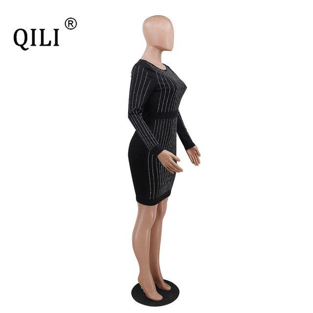 Купить qili женское платье с длинным рукавом со стразами стразы весна картинки цена