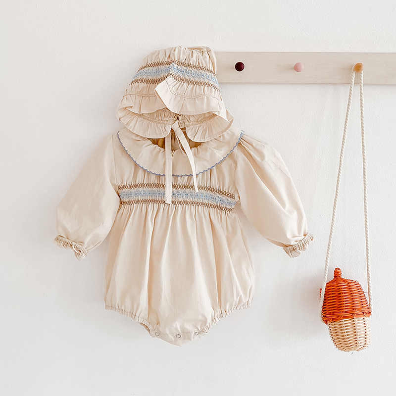 MILANCEL 2020 baby girls bodysuits 가을 아기 옷 peter pan collar 유아 소녀 jumpsuit with hat