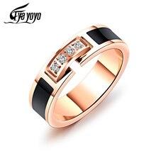 EyeYoYo Korean Zircon AAAA Cocktail Ring Women Stainless Steel Index Finger Rings