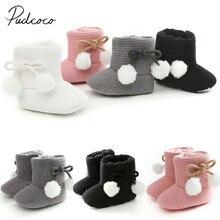 Г. Осенне-зимние ботинки для малышей теплая зимняя обувь для маленьких мальчиков и девочек однотонная модная детская обувь для малышей с пушистыми шариками для малышей 0-18 месяцев