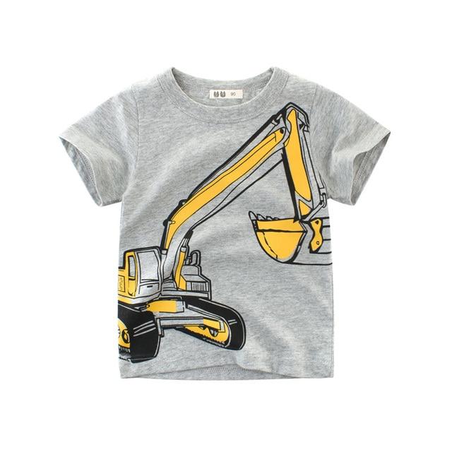 1-8Y Kids Boys T-shirt New Excavator Design Cotton Summer Clothing 2