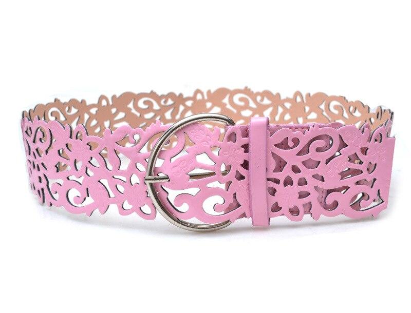 Модный ажурный декоративный широкий пояс, женский пояс, модный кожаный пояс, ретро пояс - Цвет: pink