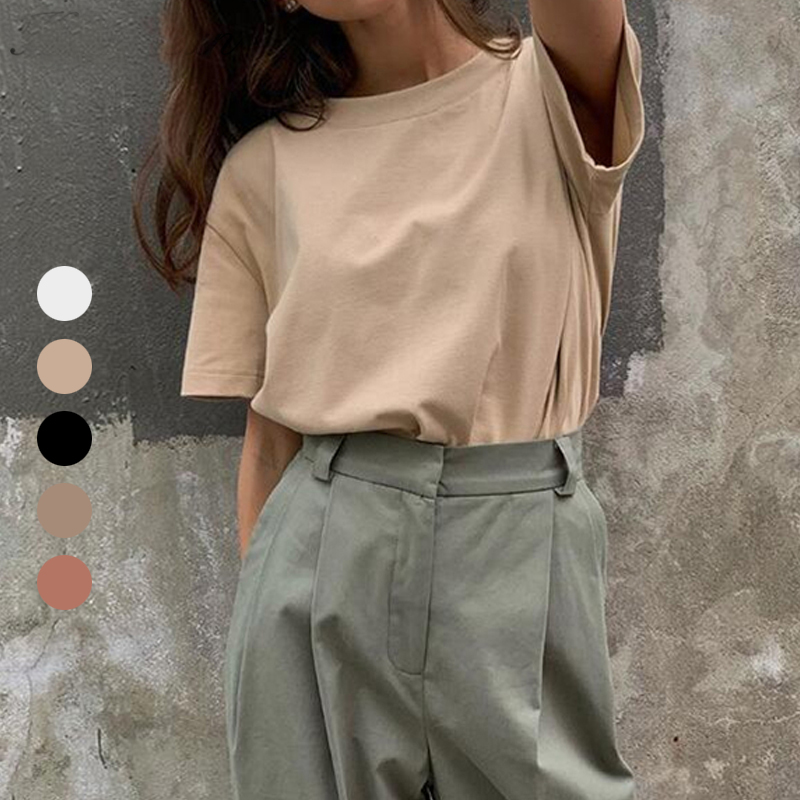 Harajuku Basic Cotton T Shirt Women Summer New Oversized Solid Casual Loose Tshirt Korean O Neck Female Tops|T-Shirts| - AliExpress