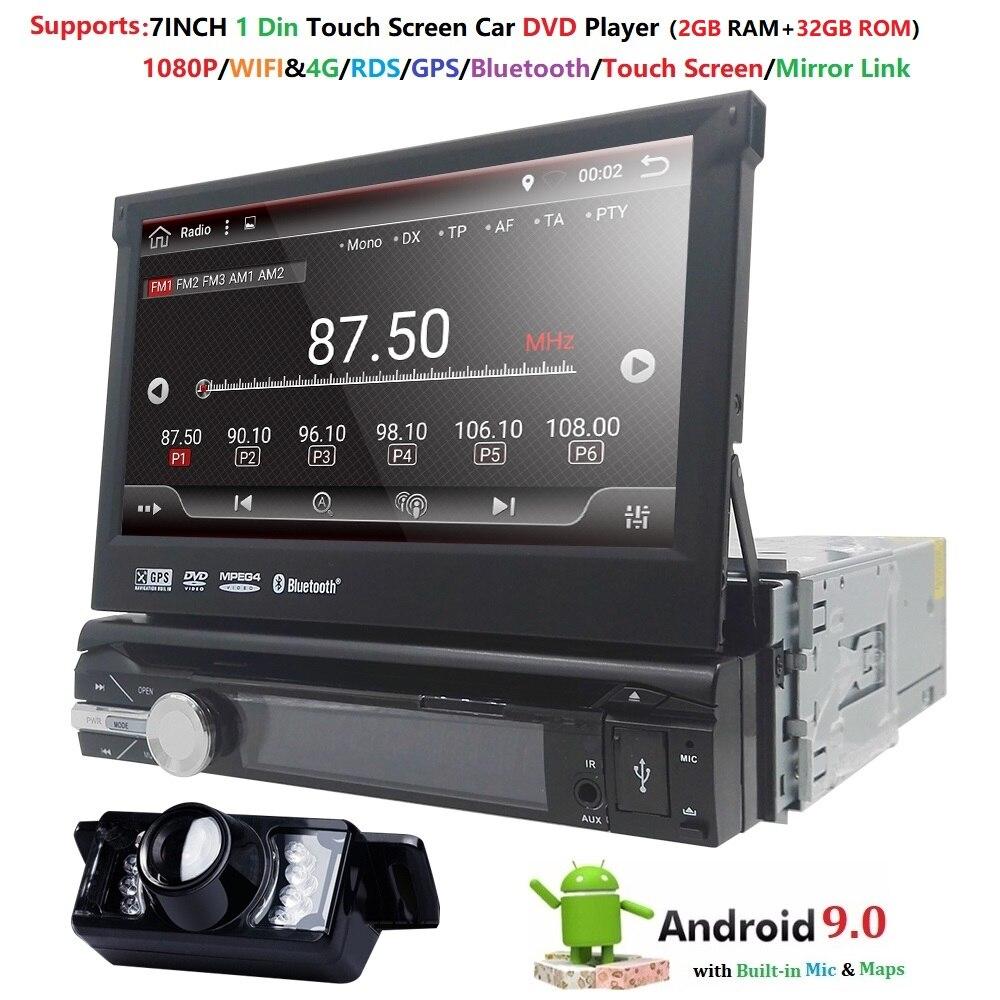 Universel 1 din Android 9.0 Quad Core voiture lecteur DVD GPS Wifi BT Radio BT 2GB RAM 32GB ROM16GB 4G SIM réseau volant RDS