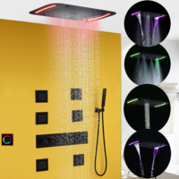 Thermostatic Bathroom Shower Faucet Set Waterfall Bath Mixer Shower Panel Ceiling LED Shower Head Bath & Shower System